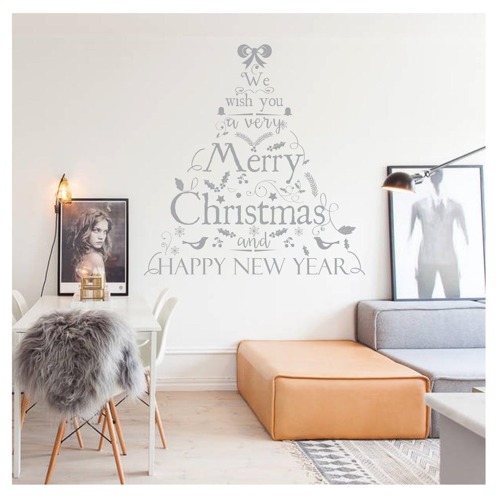 Image of Vinilo Navidad árbol texto gris