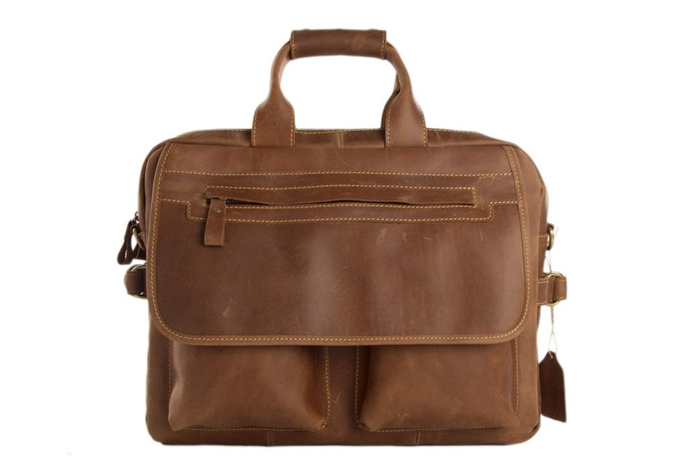 Image of Handcrafted Vintage Style Full Grain Calfskin Leather Business Briefcase Men's Laptop Bag 8951