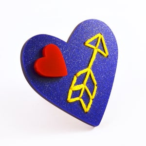 Image of Stitched Love Heart Brooch