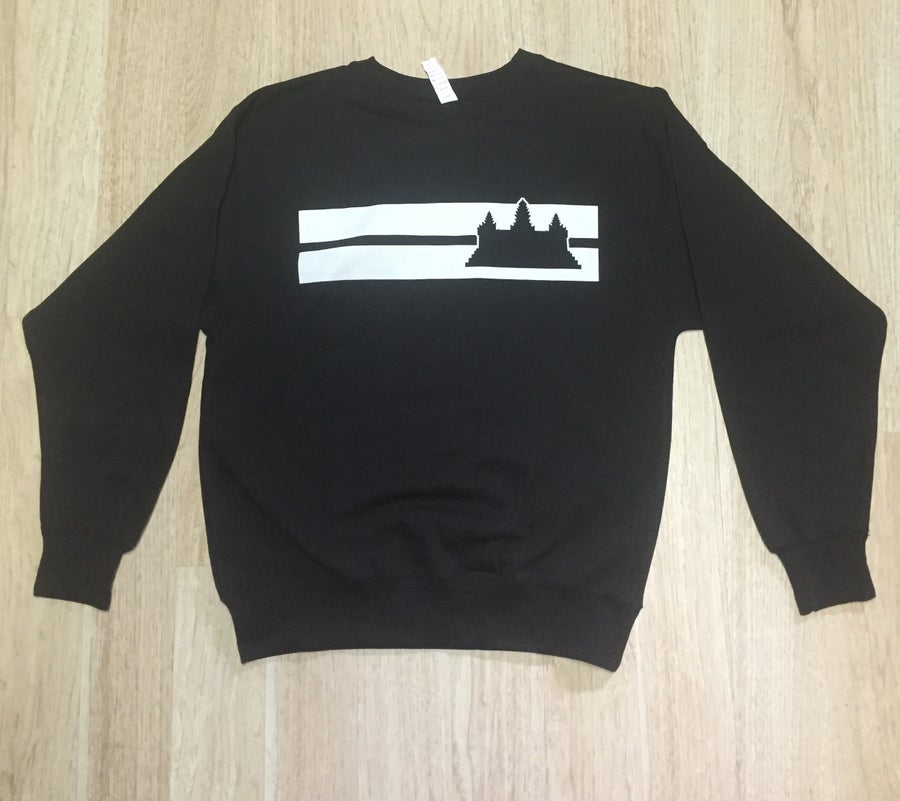 Image of Double Striped Angkor Wat Crewneck Sweater