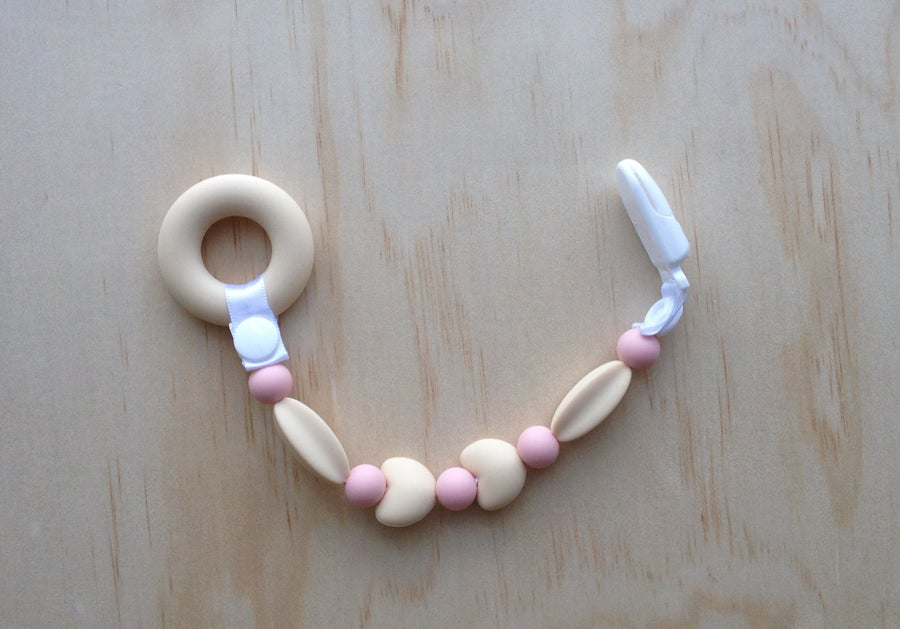 Image of Silicone Teething Clip in Pink