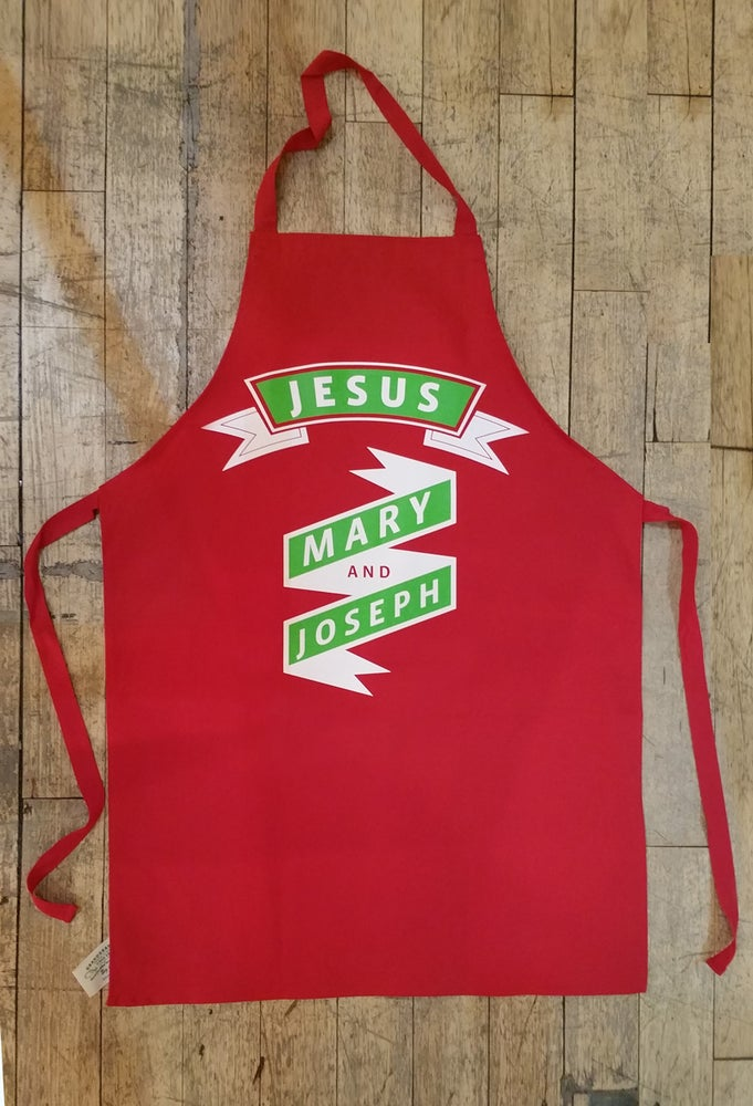 Image of Jesus Mary and Joseph apron
