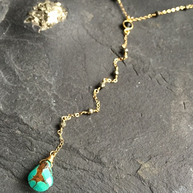 Image of Wire wrapped pyrite + black onyx gemstone & turquoise y-necklace