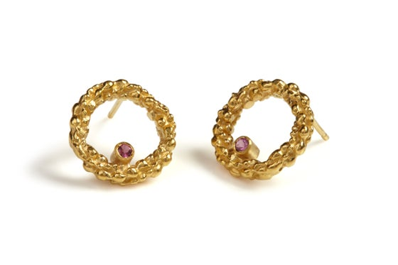 Image of 9ct gold Stark pink tourmaline earrings.