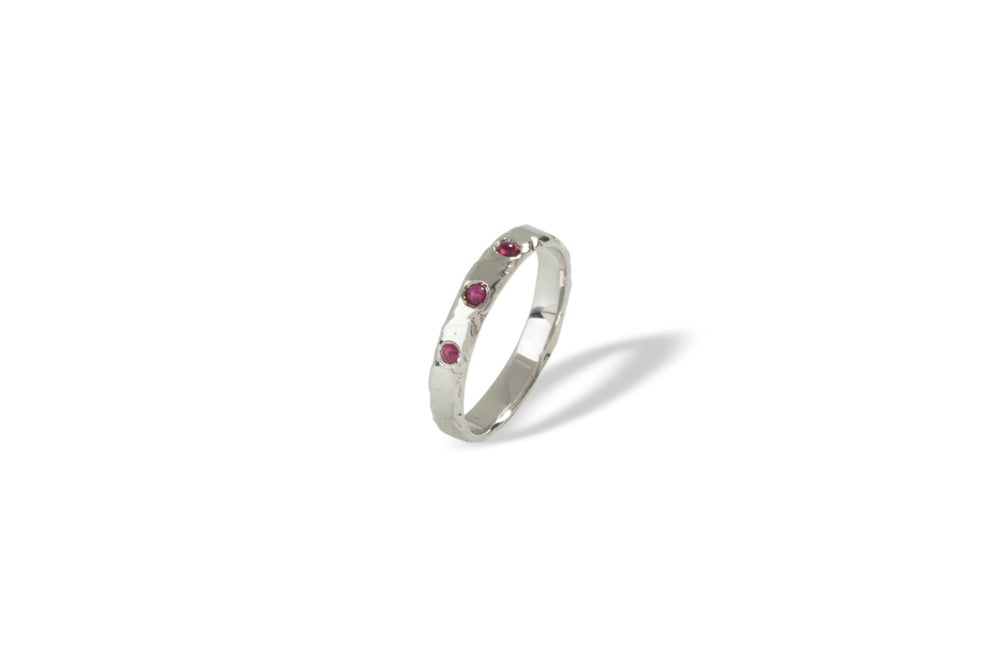 Image of Sterling silver band with rubies