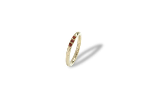 Image of Sterling silver mini signet ring with rubies
