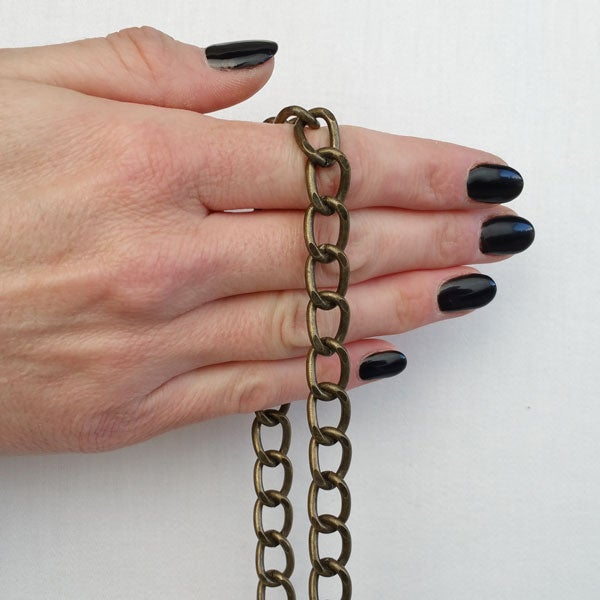 "Image of ANTIQUE BRASS Chain Strap - Diamond Cut Classy Curb - 3/8"" (10mm) Wide - Handle to Crossbody Lengths"