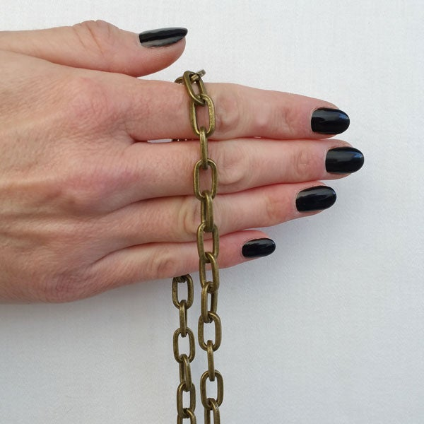 """Image of ANTIQUE BRASS Chain Strap - Elongated Box Chain - 5/16"""" (8mm) Wide - Handle to Crossbody Lengths"""