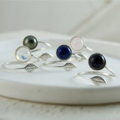 Image of Folium - Sterling Silver Leaf Gemstone Wrap Ring