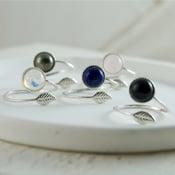 Image of Folium - Sterling Silver Leaf Gemstone Wrap Ring