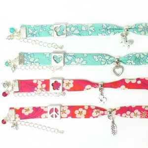Image of Floral Liberty Fabric Charm Bracelet