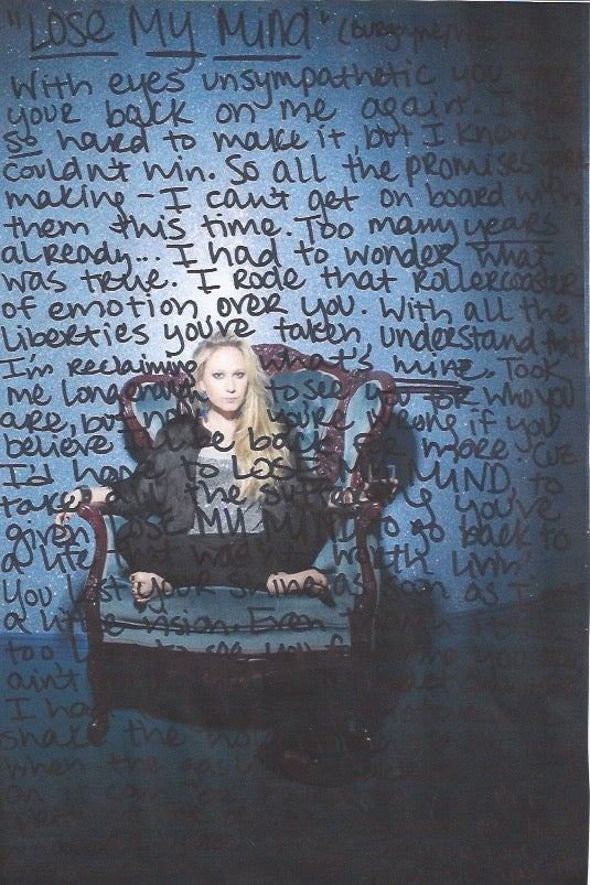 Image of Madysin Hatter Handwritten Lyrics Sheet