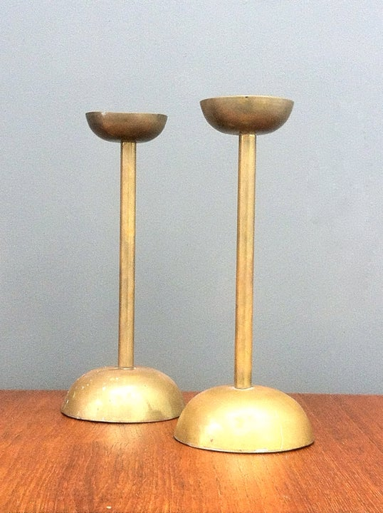 Image of Pair of Brass Candlesticks