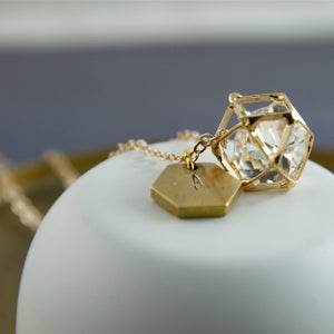 Image of Geo - Personalised Geometric Caged Crystal Necklace