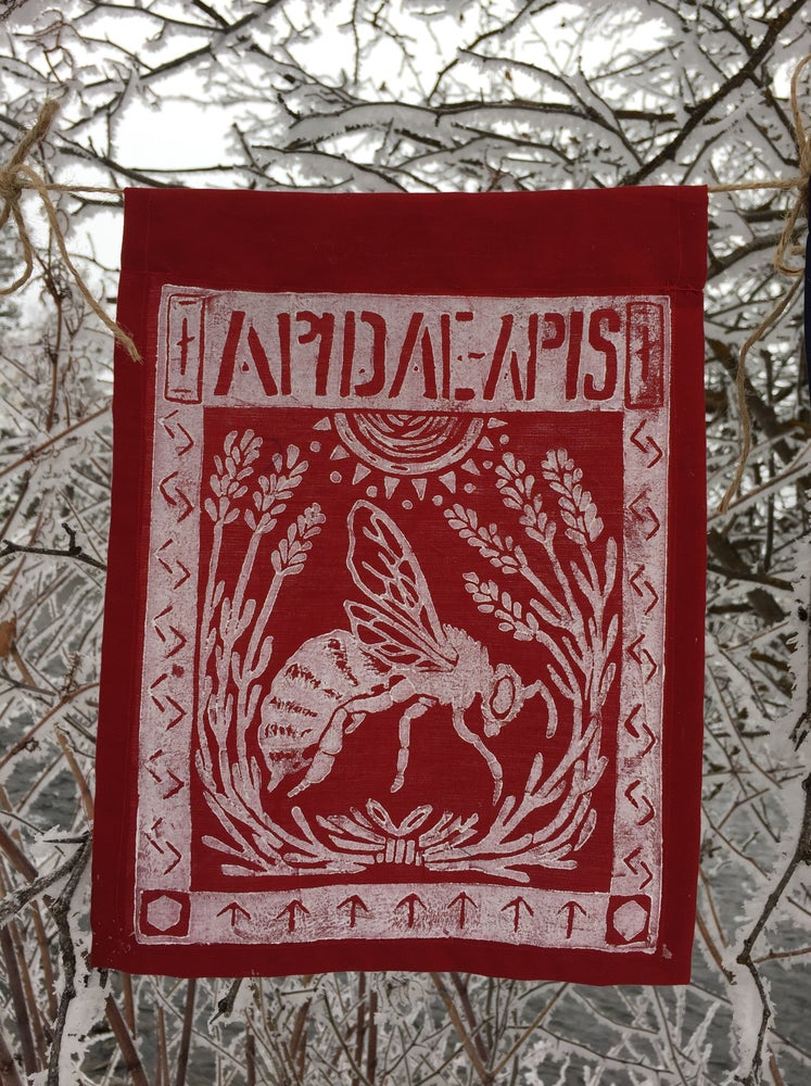 Image of Block Print Bee Flag