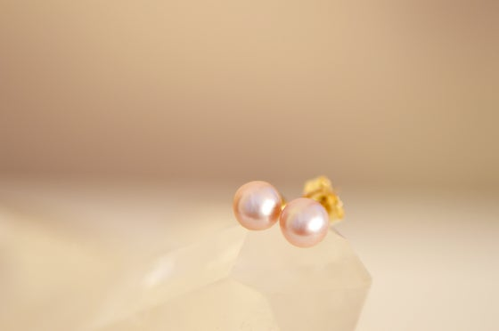 Image of Light Pink Fresh Water Pearl Stud Earrings
