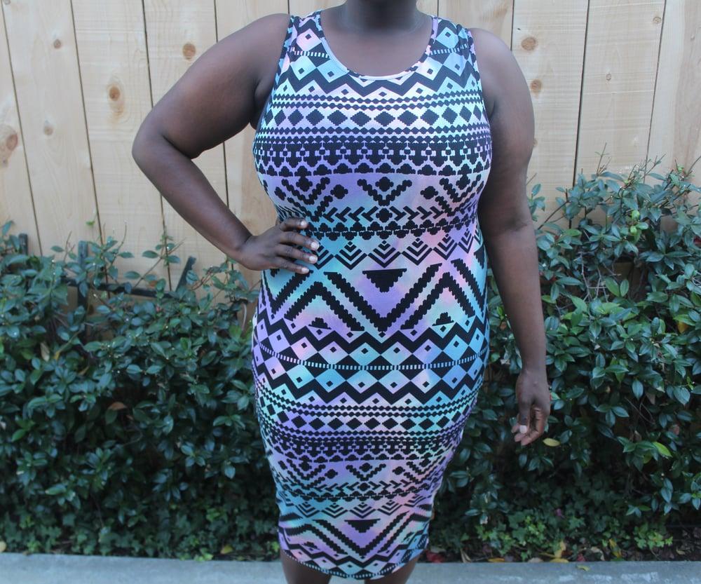 Image of ASOS Curve Tribal Print Bodycon Midi Dress