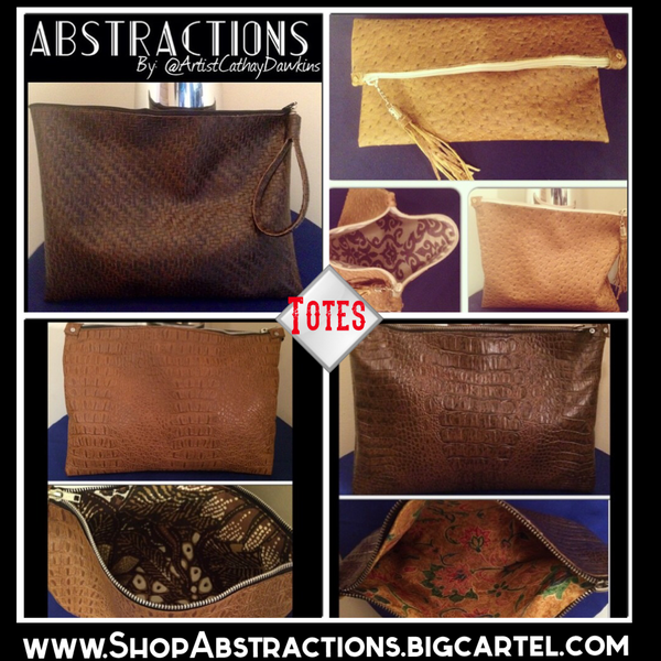 Image of Faux Leather Zipper Totes