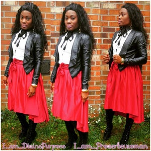 Image of Red up/down skirt w/bow