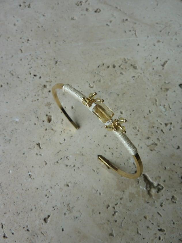 Image of bracelet jonc tissé JAIPUR Ivoire