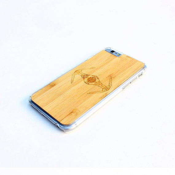 Image of TIMBER Wood Skin Case (iPhone, Samsung Galaxy) : Tie Fighter Edition