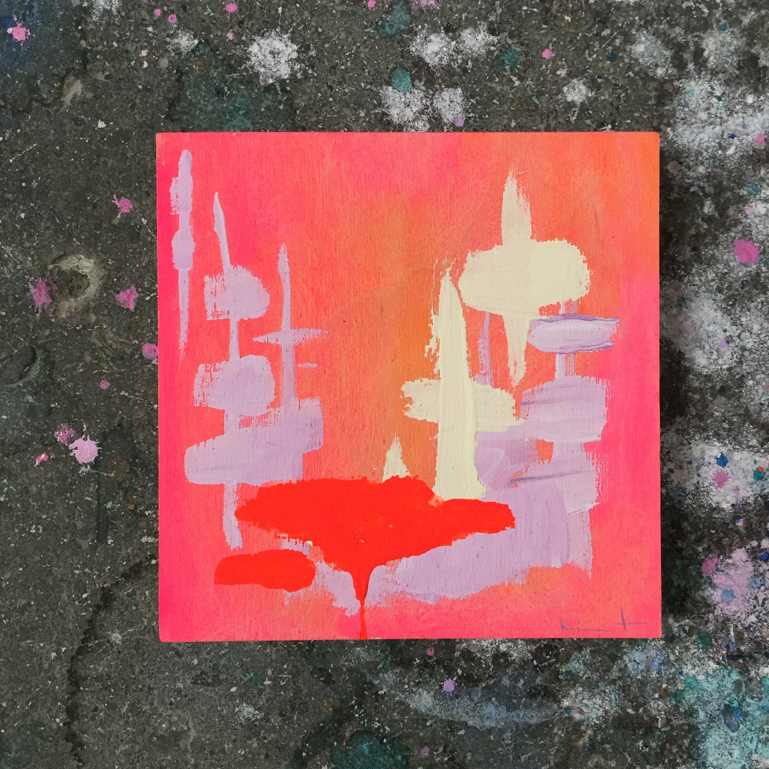 Image of tiny painting no. 29 (vermilion, parchment, lavender)