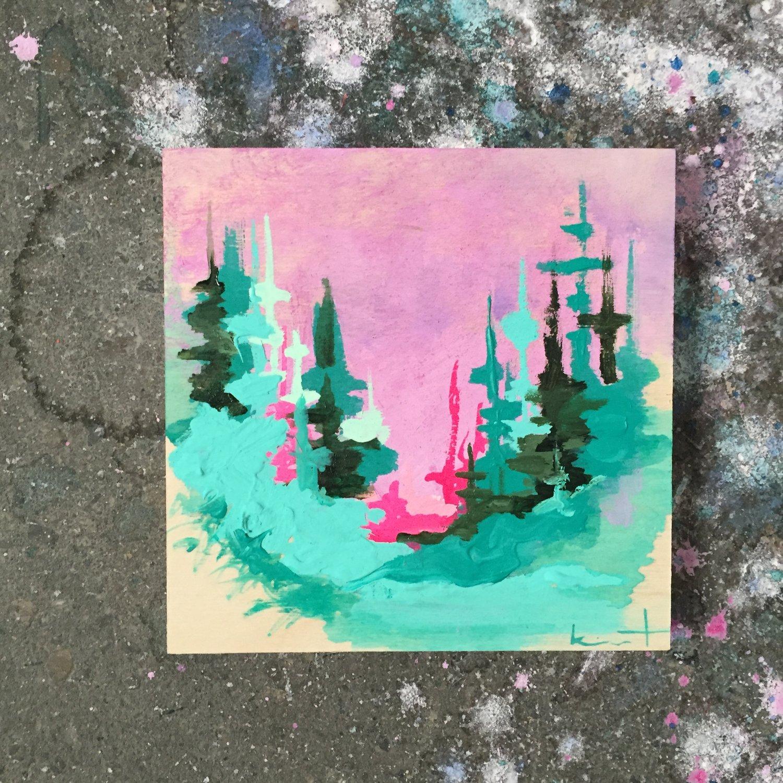 Image of tiny painting no. 32 (lilac, gulf, opera)
