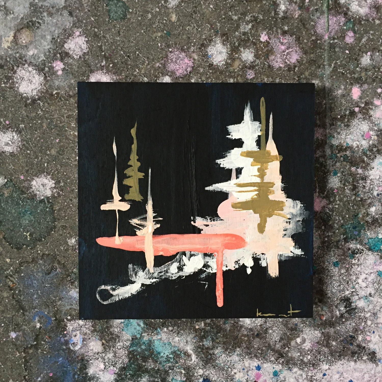 Image of tiny painting no. 39 (midnight black, salmon, shell, ochre)