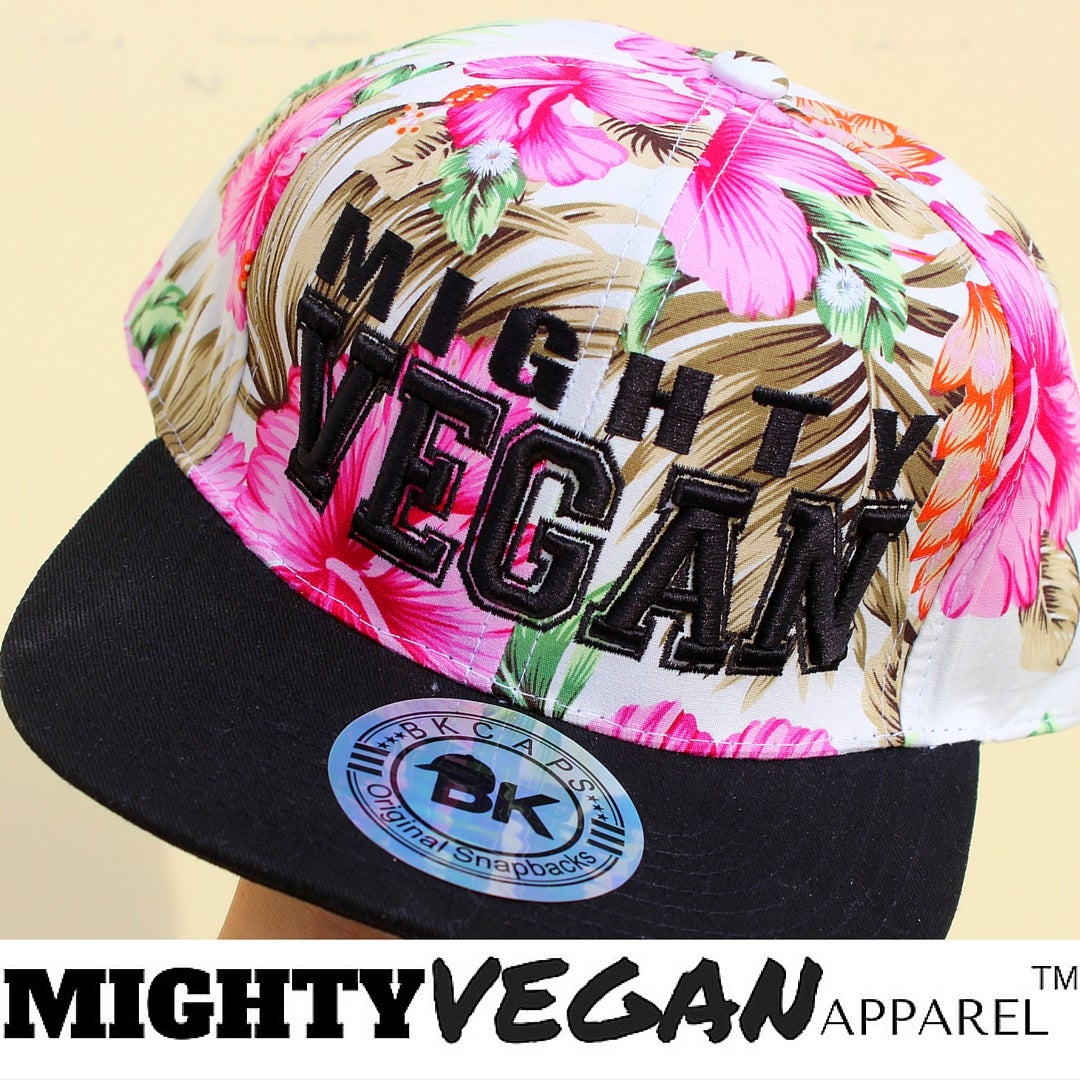 Image of MV Hat - Pink Floral with 3D 'VEGAN' EMBROIDERY