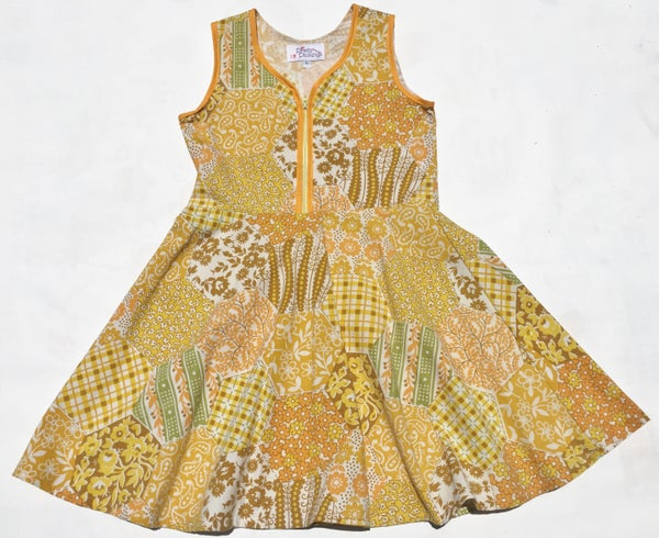 Image of Size 6 'Vintage Twirl' Dress - yellow patchwork