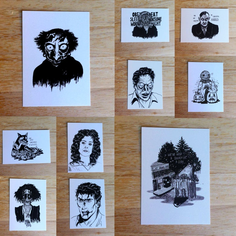 Image of Inktober Horror Film Postcards