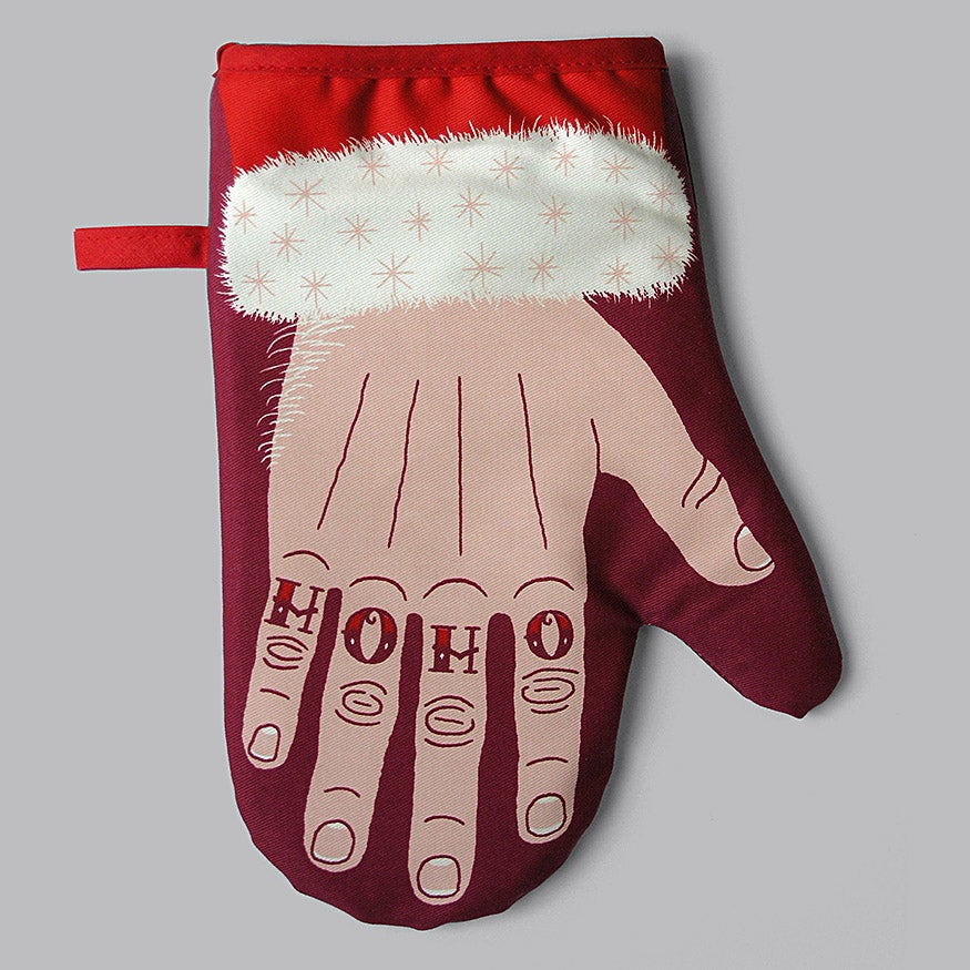 Image of 'HO HO' Tattooed Santa Oven Mitt