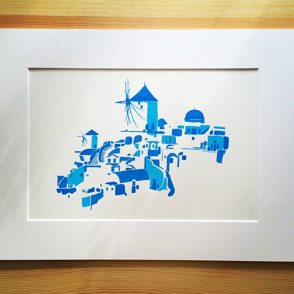 Image of [Silk screen]  Santorini