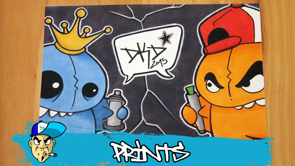 Image of DKD Graffiti Character Print Pencil & Spraycan