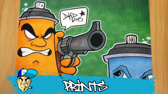 Image of DKD Graffiti Character Print Spraycan with a gun