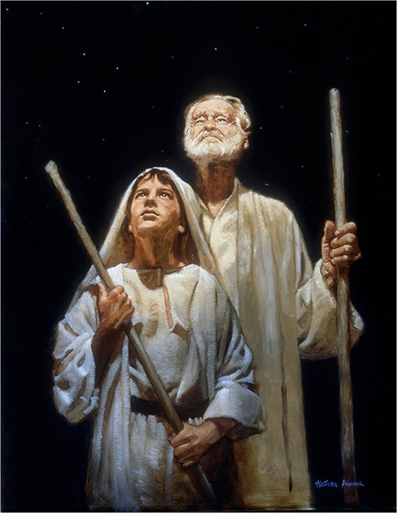 Image of Two Shepherds | Nativity Art, Original Oil Painting: BY NATHAN PINNOCK
