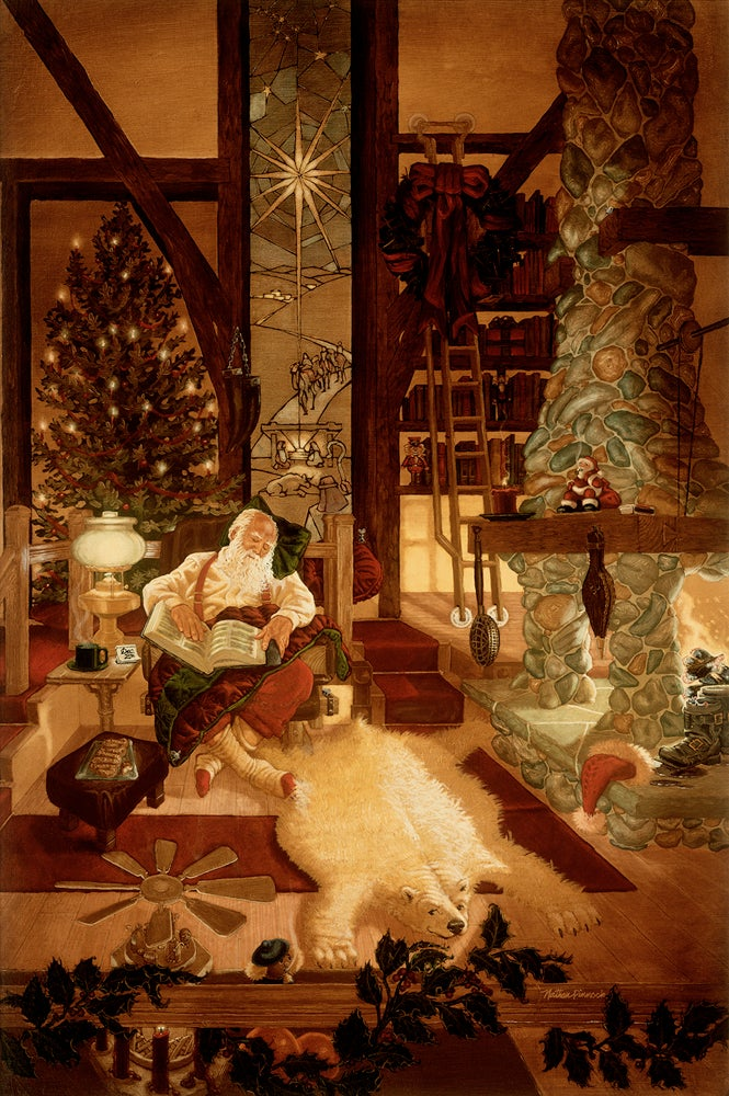 Image of A Job Well Done | Christmas Santa Art Original Oil Painting by Nathan Pinnock
