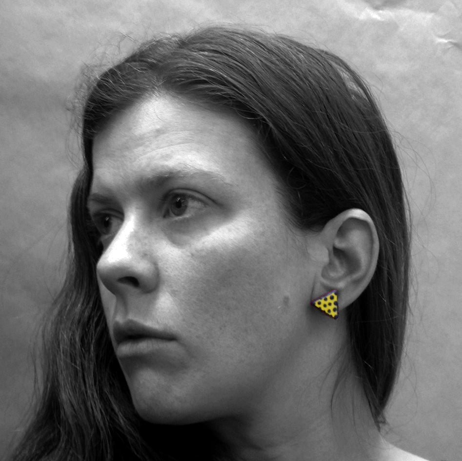 Image of Yellow Triangle with Black Dot Stud Earrings