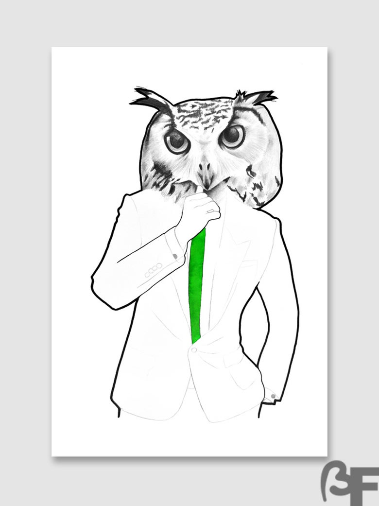 "Image of Ilustración Búho serie ""Doble animal"" / Illustration Owl series ""animal Double"""