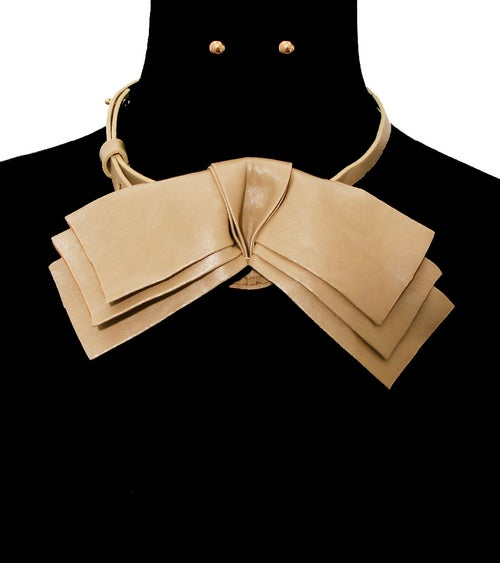 Image of Leather Choker Necklace Set