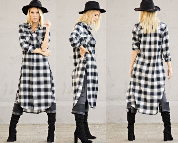 Image of Checks Plaid Maxi Top