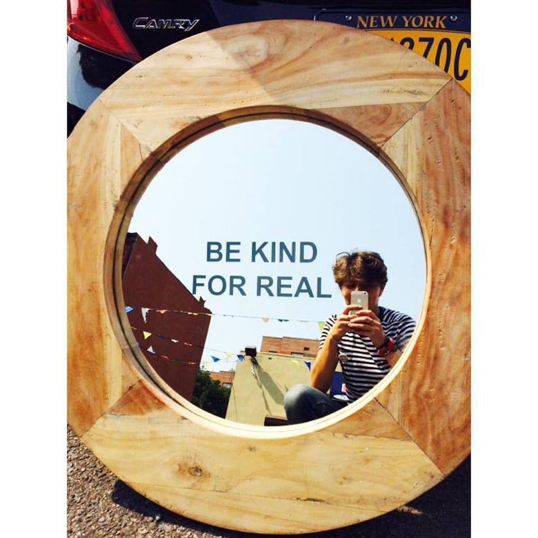 Image of BE KIND FOR REAL custom-made refurbished mirror