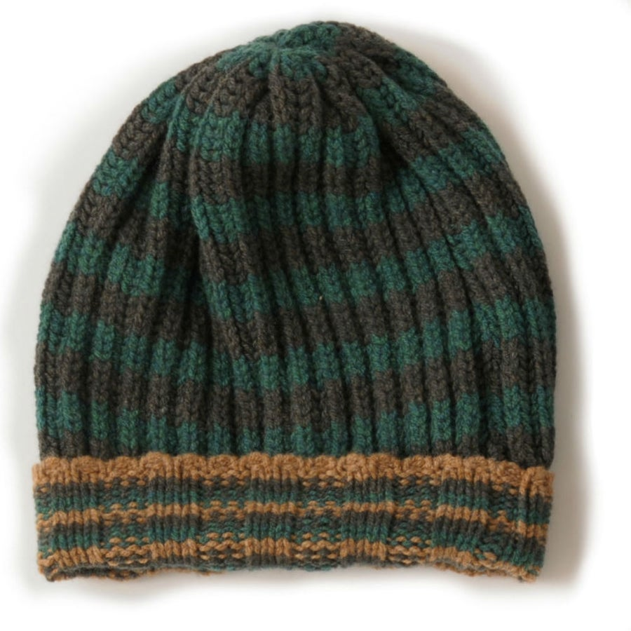 Image of Large Rib Hat in Khaki & Green