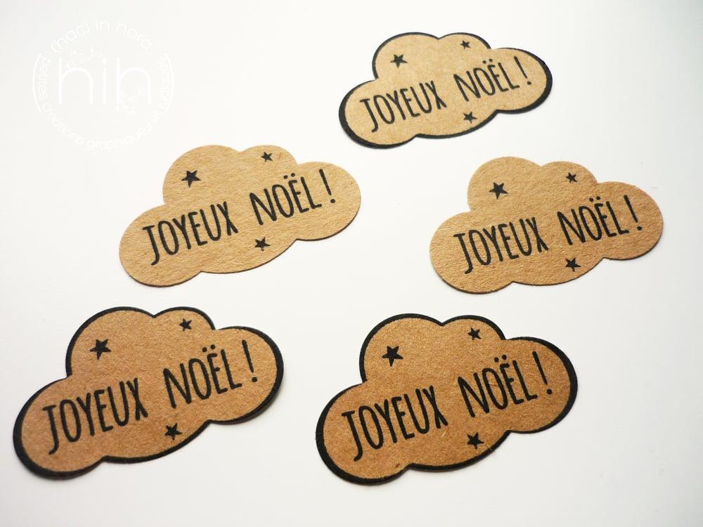 Image of étiquettes autocollantes                     ☁ nuage ☁ 'Joyeux Noël!'