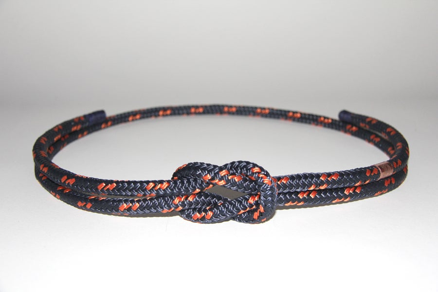 Image of CEINTURE DU MARIN BLEU MARINE & FILETS ORANGE FINE