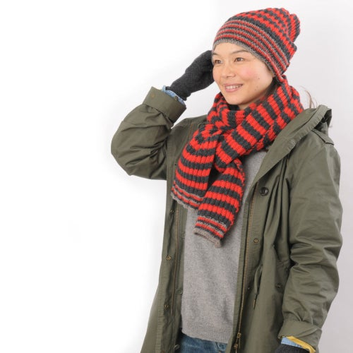 Image of Large Rib Hat in Charcoal x Red