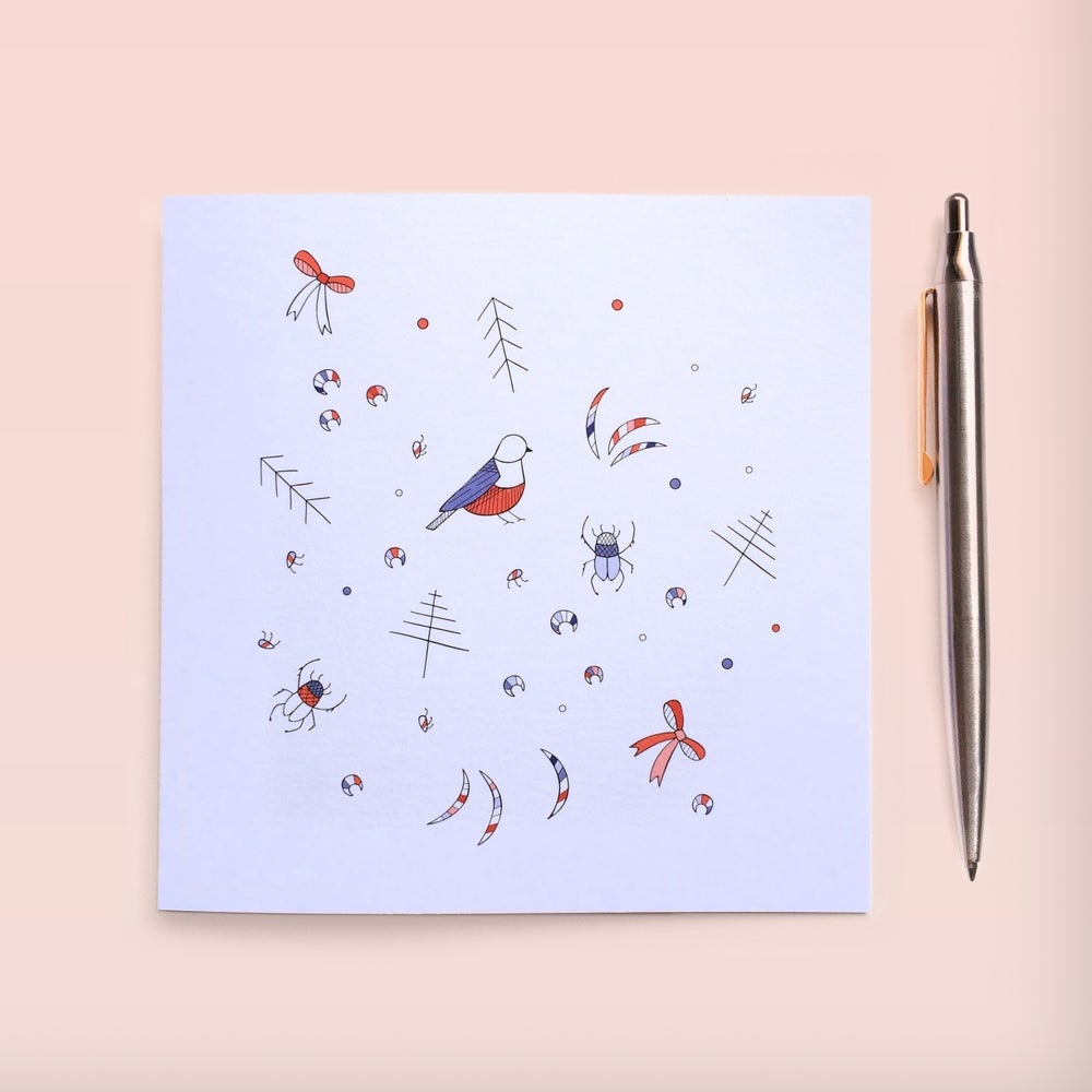 Image of Beautiful beetles & pretty birds Individual Greeting Card