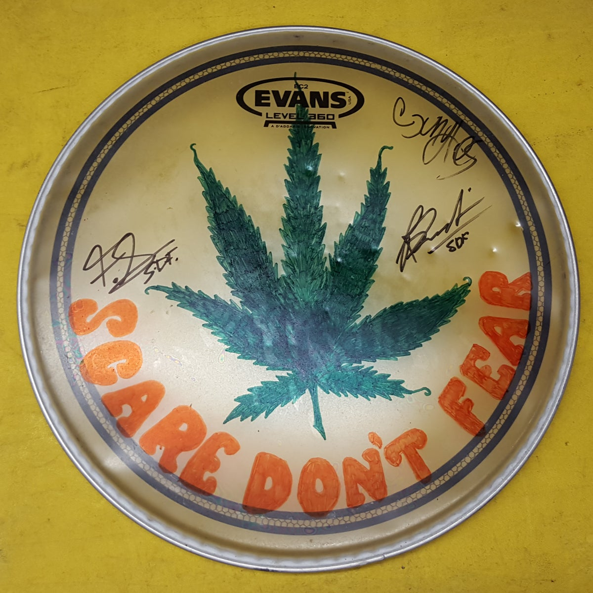 Image of Pot Head Artwork by Ryan. Signed by all members.
