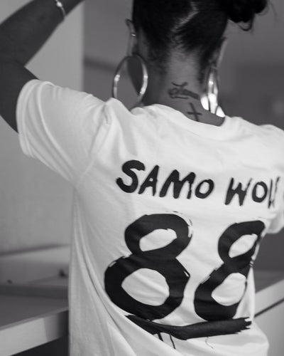 Image of SAMOWOLF ORIGINS TSHIRT (white, red, wolf gray)
