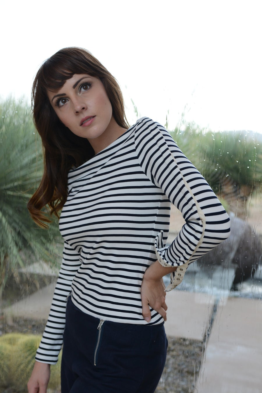 Image of TONATIUH STRIPED NAVY BOATNECK SWEATER